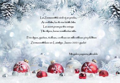 Priecīgus, gaišus, ticības, cerības un mīlestības piepildītus Ziemassvētkus un Laimīgu Jauno 2021.gadu!